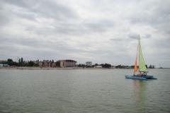 Вид набережной Приморско-Ахтарска с моря